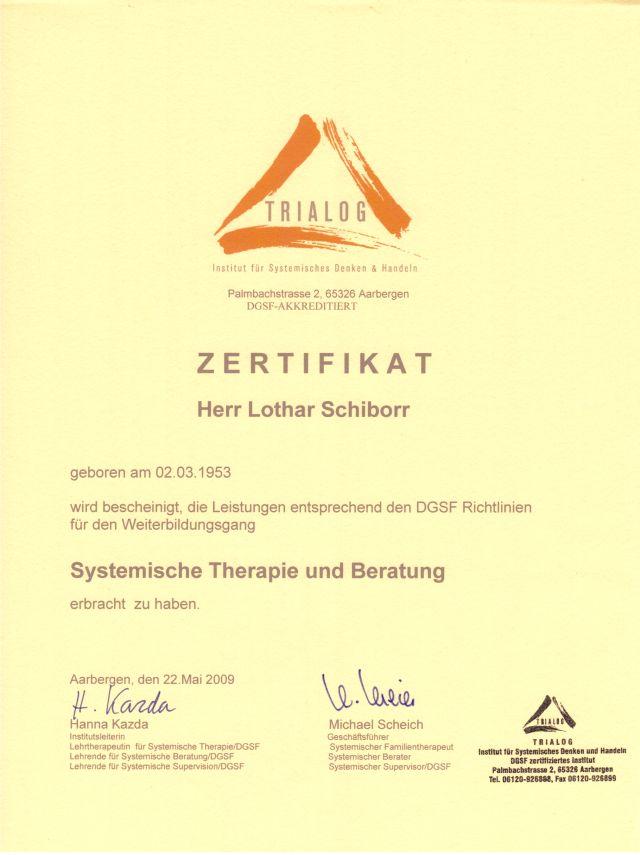 Urkunde Systemischer TherapeutD